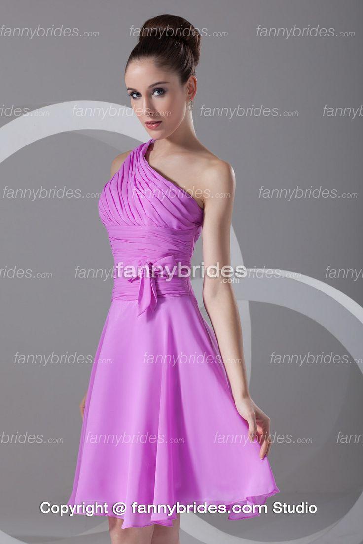 Short/Mini Lilac One Shoulder Ruffles Outdoor Bridesmaid Dress - Fannybrides.com