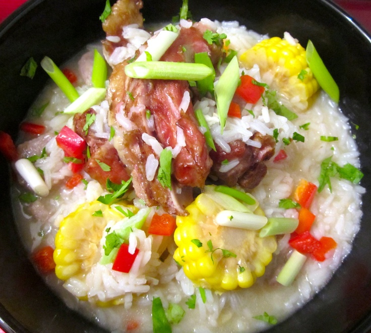 Congee With Smoked Pig's Tails & Vegetables