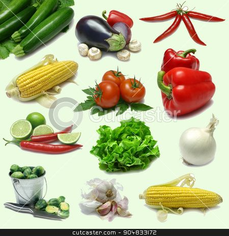Collage of fresh vegetables stock photo