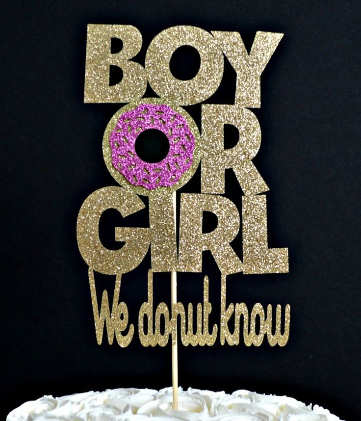 Boy or Girl We Donut Know Gold Glitter Paper Gender Reveal Cake Topper with Bright Pink Glitter Icing