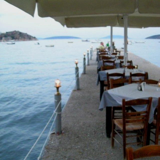 Waterfront dining in Tolo, Greece
