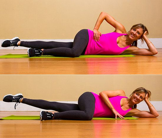 The lazy girl way to tone your inner thighs. The side-lying Pilates lower-leg lift is perfect for doing in front of the TV.