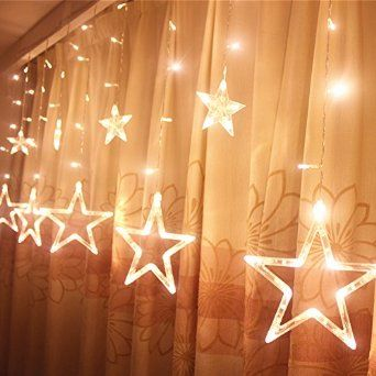 Ucharge Star Curtain Lights, With 12 Stars 138pcs Waterproof Linkable Curtain Lights, Great Decoration for Wedding, Christmas, Holiday, Party and Home - Warm White Star Curtain by Ucharge