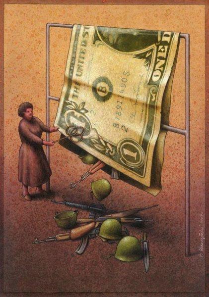 Denuncia del traffico delle armi e il riciclaggio di denaro sporco. Le ciniche illustrazioni di Pawel Kuczynski - Focus.it