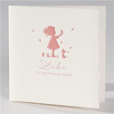 Geboortekaartje silhouette meisje met kat - Suikerdraakje - Doopsuiker en Geboortekaartjes