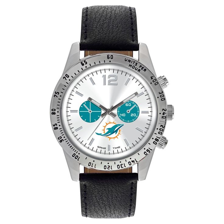Men's Game Time NFL Letterman Sports Watch - Black - Miami Dolphins