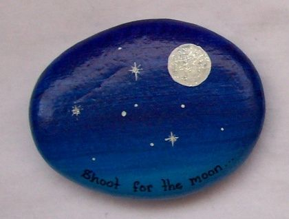 Keystones are New Zealand and inspirational scenes in miniature, together with uplifting quotations. Each one is hand painted on greywacke stone collected from Birdlings Flat. They fit in the palm of your hand, and come in a handmade pouch.  This sparkly Keystones shows the moon and stars, and bears...