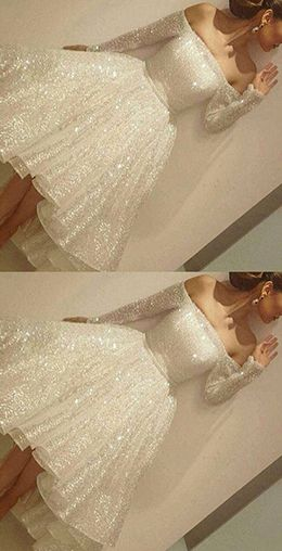 Noble Sparkle White Sequined Lace Prom Dress,Sexy Off The Shoulder Long Sleeves Party Dress,prom dress,prom dresses