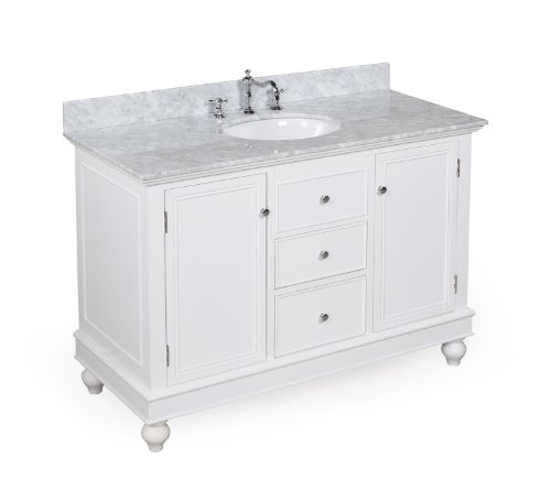 Deals Bella Bathroom Vanity Carrera/White: Includes An Italian Carrera  Marble Countertop, A Solid Wood White Cabinet, And A Ceramic Sink, Also  Comes In ...