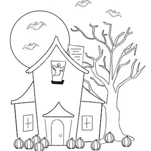 Fun & Free Halloween Coloring Pages: Haunted House (via Parents.com)