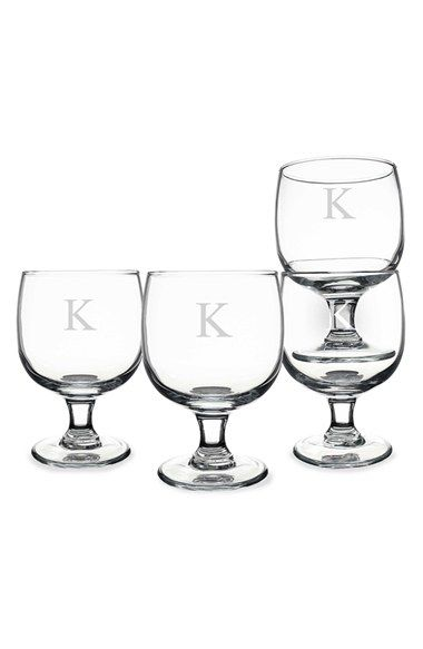 Cathy's Concepts Personalized Short Stem Wine Glasses - White (Set of 4)