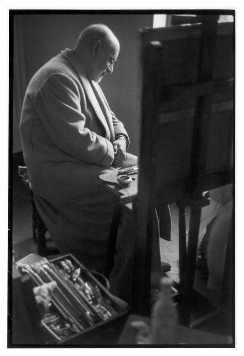 Henri Matisse in his Studio (Atelier) (Cimez district, Nice, France), 1944. Photo by Henri Cartier-Bresson