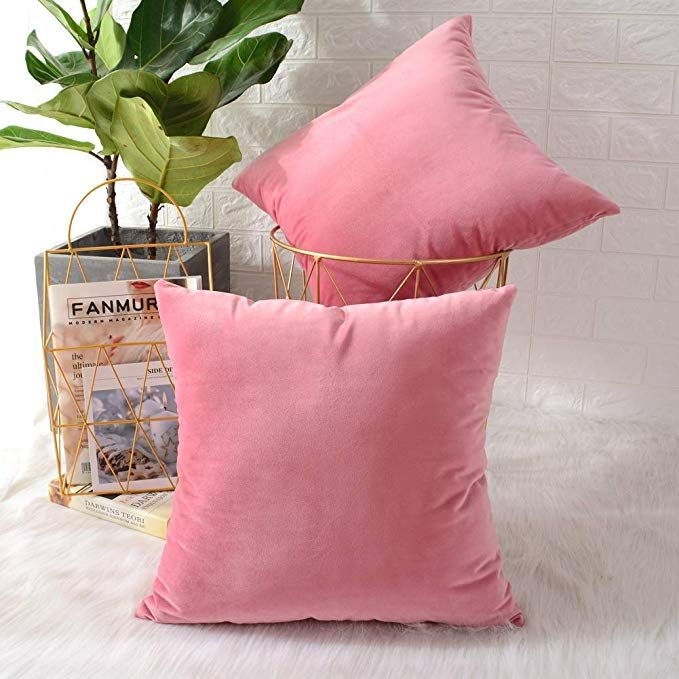 Amazon Com Mernette Pack Of 2 Velvet Soft Decorative Square Throw Pillow Cover Cushion Covers Pillow Case Home De Sofa Couch Bed Throw Pillow Covers Pillows