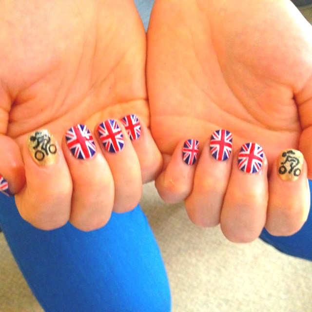 Smashing GB nails I did for Olympic cyclist Jessica Varnish (v appropriate name!)