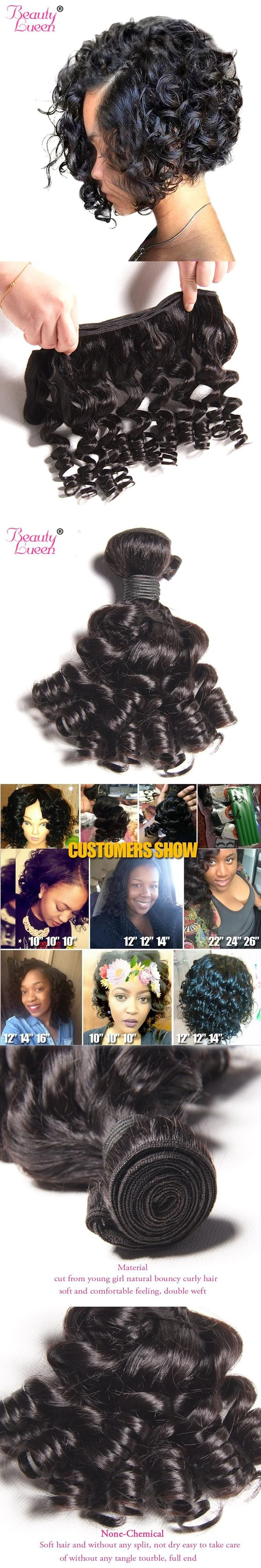 Curly Weave Human Hair Bundles Brazilian Hair Weave Bundles Non Remy Weave Bob Short Hair Extension Can Be Dyed Beauty Lueen #HairBundles #Hairextensions&weaves