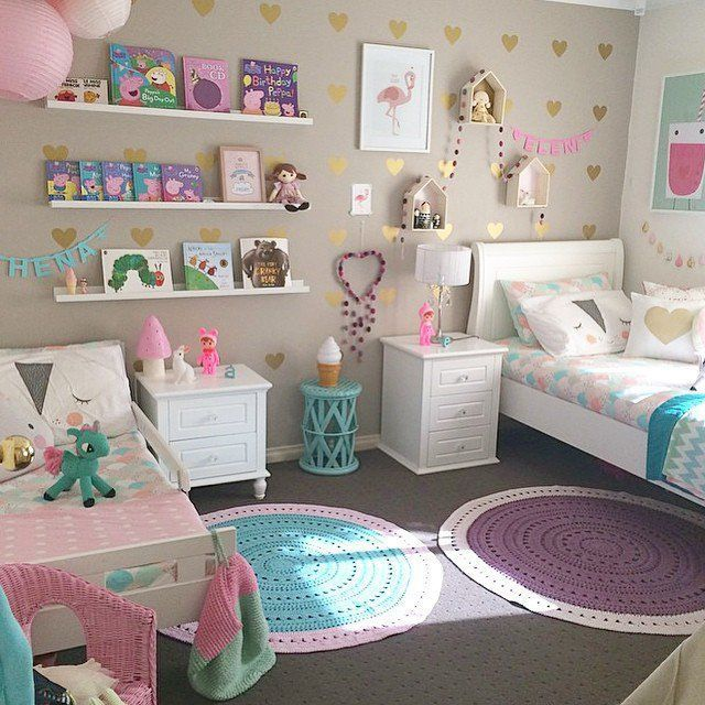 50 Cute Teenage Girl Bedroom Ideas How To Make A Small Space Feel Big Girl Bedroom Decor Shared Girls Room Cool Girl Bedrooms