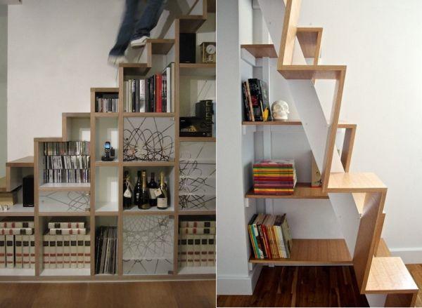 Ideen Stauraum unter der Treppe regale offen