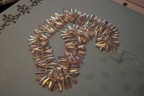 Czech Dagger Beads Preciosa beads Czech pressed by Henrysbeads, $5.50