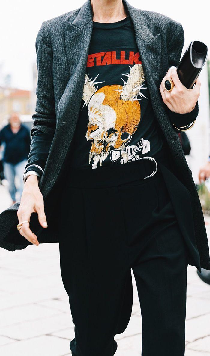 Vintage tee shirt worn with a blazer