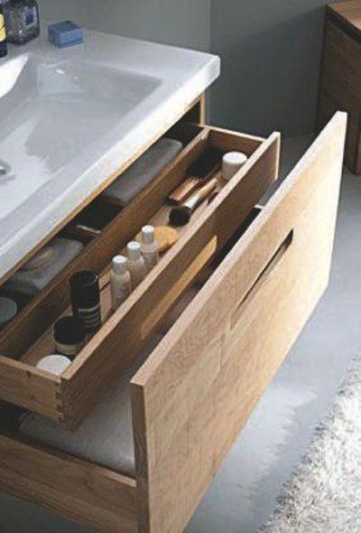 Tiroir en bois brut design et pratique pour ma salle de bains