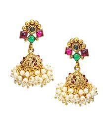 Buy Traditional & Beautiful Red & Green Pearl jhumka/Earring set for bridal Jewellery danglers-drop online