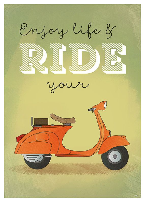 Wall poster Enjoy life & ride your Vespa A2 or A3 by 84Posters