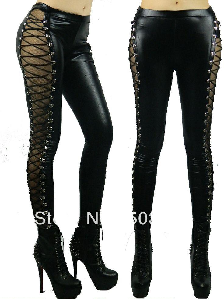 nueva marca de imitación de cuero de las mujeres polainas stretch pantalones para adelgazar sexy leggings con correas ajustables