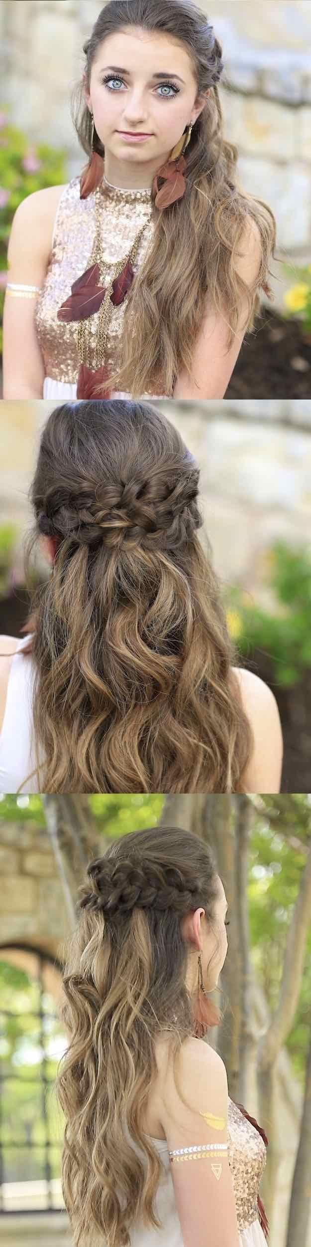 hair homecoming styles 25 easy half up half hairstyle tutorials for prom 3671