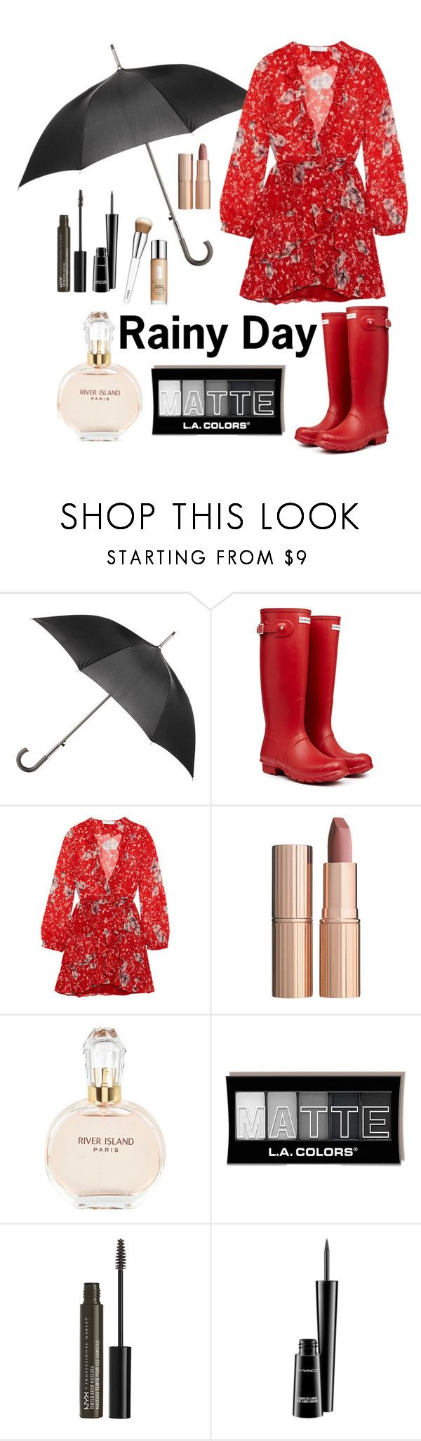 """Rainy Day"" by o-p-backe ❤ liked on Polyvore featuring Totes, Hunter, IRO, Charlotte Tilbury, River Island, NYX, MAC Cosmetics and Clinique"