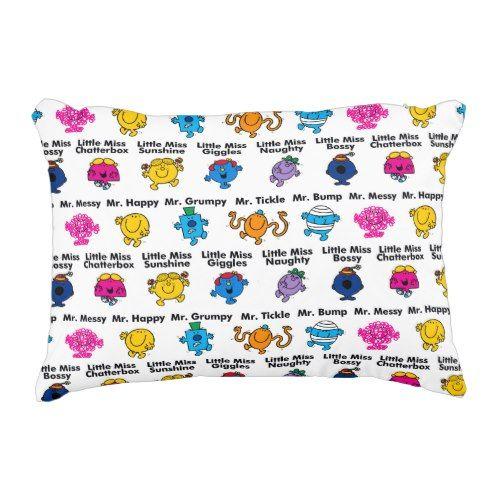Mr Men & Little Miss | Character Names Decorative Pillow