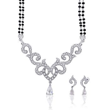 White American Diamond Studded Mangalsutra Online Shopping: JWR8266
