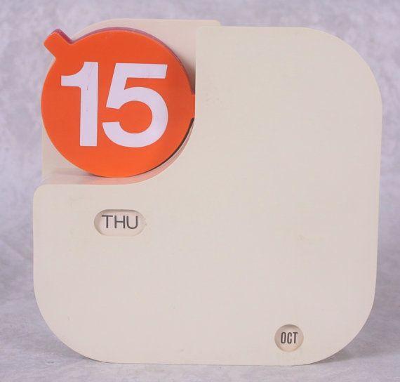 Rare Mid Century Modern Perpetual Calendar Flip Tri Color Dates Mod Design Orange Yellow and Red