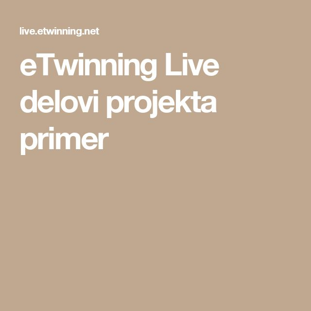 eTwinning Live delovi projekta primer