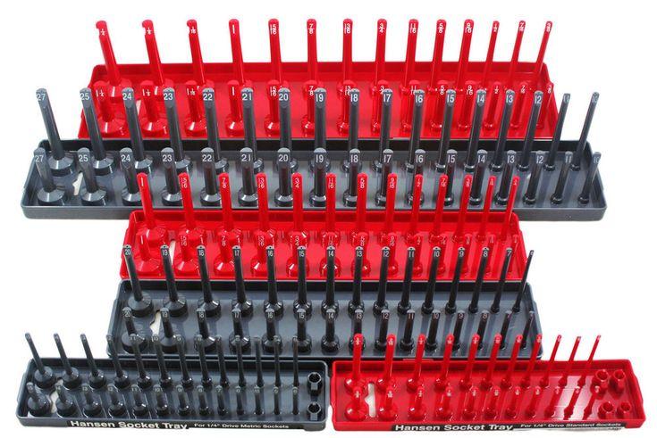 "Hansen Global 92000 6 Pack 1/4"", 3/8"", 1/2"" SAE & METRIC Socket Organizer Trays  | eBay"