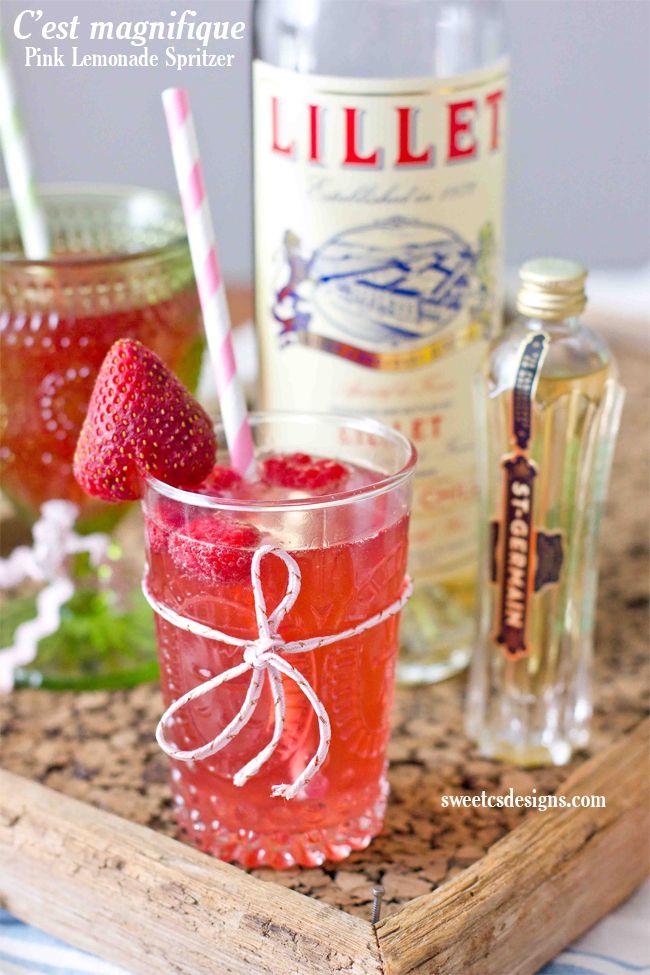 St Germain & Lillet Blanc Pink Lemonade Spritzer | Lillet blanc, pomegranate or raspberry lemonade, St Germain, & soda water #cocktail
