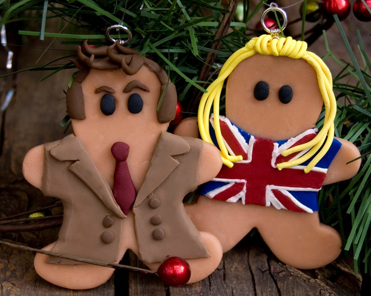 Tenth Doctor Who and Rose Gingerbread Christmas Ornament. $19.00, via Etsy.