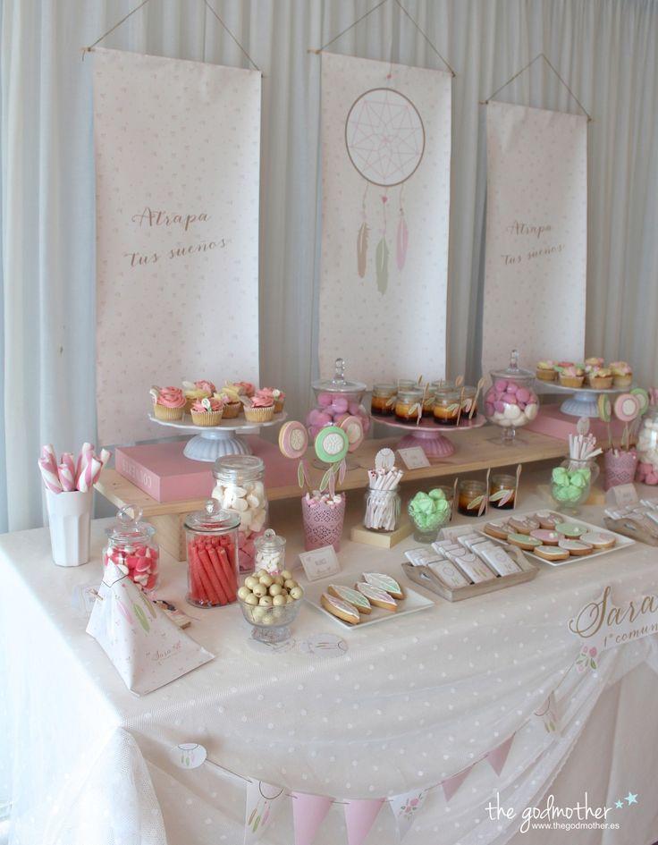 Mesa dulce est tica boho mesa dulce comuni n ni a decoraci n comuni n boho chic decoraci n - Ideas para decorar mesas de chuches ...