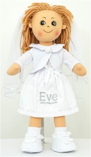 Julie is our traditional Holy Communion / Bridal Doll. Beautifully dressed in white occasion dress, cardigan and matching veil and shoes ready for her big day.  Julie is a great gift for little girls making first communion and brides.