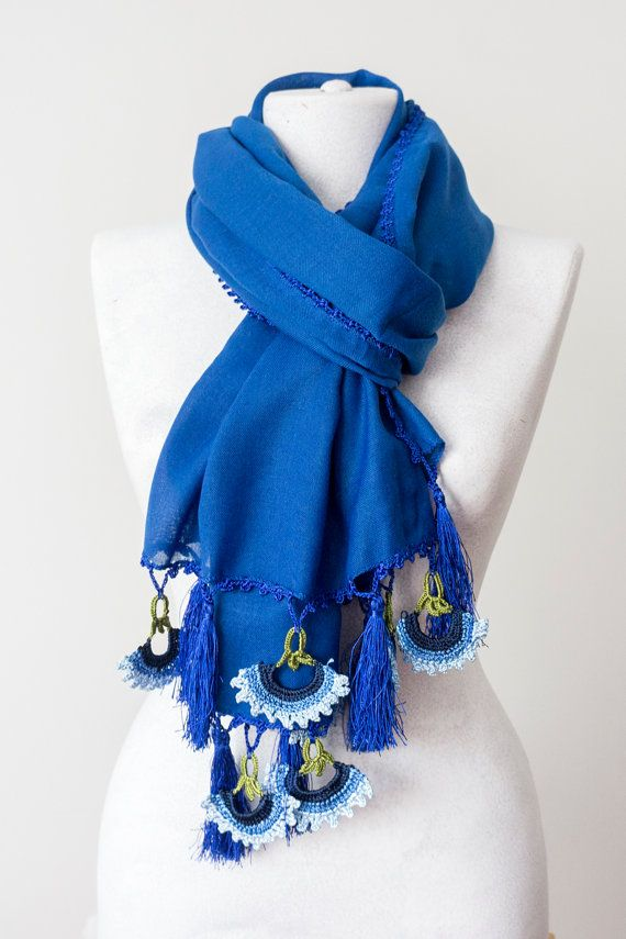 Royal Blue Tassel Scarf Crochet Scarf Winter Scarf Thick by Oxoo