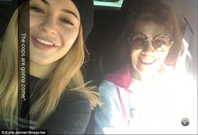 Having a blast: While heading to the restaurant, the starlet filmed a Snapchat video with her grandma, captioning it: 'The cops are gonna come'