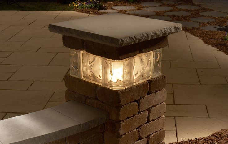 Pillar, Landscaping, Concrete, Lighted, Patio, Hardscapes