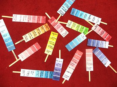 After brainstorming Popsicle similes, the kids turned them into poems by writing some of them on paint chip samples.