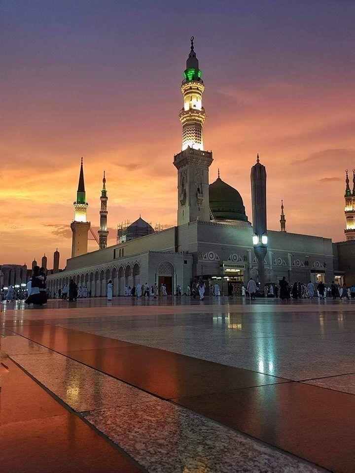 مسجد نبوی شام کا منظر Arsitektur Masjid Mesjid Mekah