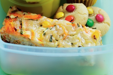 Make the kids feel special on their first day of school with a tasty lunch of vegetable and rice slice.
