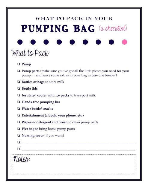 What to pack in your pumping bag: A free, printable checklist for nursing moms who pump at work