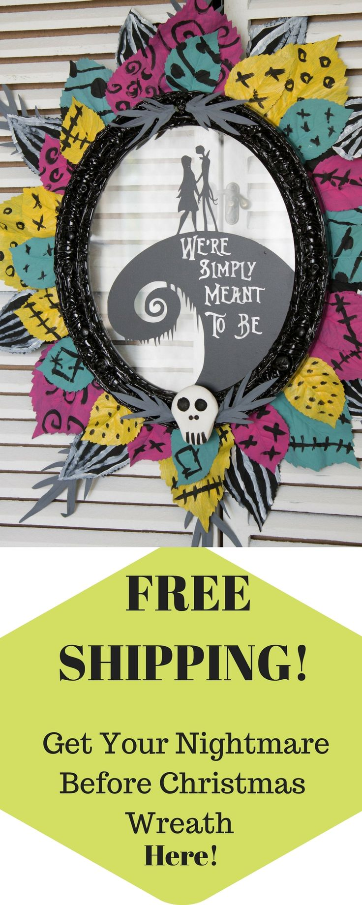FREE SHIPPING/ Halloween/ Front Door/ Christmas Wreath/ Halloween Wreath/ Nightmare Before Christmas/ Jack and Sally/ Jack Skellington/ Welcome your guests this Halloween with this Nightmare Before Christmas 24 x 22-inch wreath! This Wreath with its oval frame, bright colored hand painted leaves and cute silhouette of Jack and Sally makes it great for your front door this fall season.  #freeshipping #shoppingonline #nightmarebeforechristmas  #frontdoorwreath #halloweenwreath #etsy  #wreaths