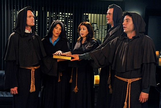 """""""The Broath""""-- The gang, Barney (Neil Patrick Harris), Robin (Cobie Smulders), Lily (Alyson Hannigan) Marshall (Jason Segel), and Ted (Josh Radnor), on HOW I MET YOUR MOTHER, Monday, March 19 (8:00-8:30 PM, ET/PT) on the CBS Television Network.    Photo: Eric McCandless/Fox ©2012 FOX Television. All Rights Reserved."""