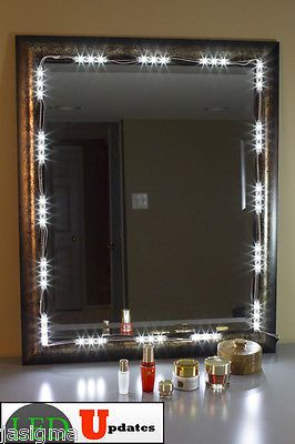 mirror led light for cosmetic makeup vanity mirror lighted white with power 10ft makeup vanity. Black Bedroom Furniture Sets. Home Design Ideas