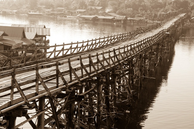 The Mon Timber Bridge, Sangkhlaburi,Thailand. By John Marmon.