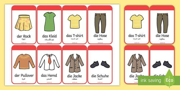 Deutsch-Arabische Kleidung Wortschatz: Wort- und Bildkarten